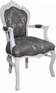 Casa Padrino Barock Esszimmer Stuhl mit Armlehnen Grau Muster / Weiß - Antik Möbel - Vorschau 2
