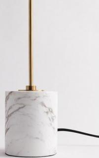 Casa Padrino Luxus Tischleuchte Antik Messing / Weiß Ø 15, 9 x H. 55, 9 cm - Moderne runde Tischlampe mit Lampenschirm aus Kunstseide und Marmorsockel - Vorschau 4