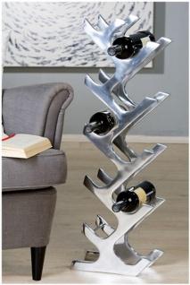 Designer Weinregal für 10 Flaschen poliertes Aluminium Höhe: 83 cm, Breite: 28 cm, Tiefe: 14, 5 cm - Flaschenhalter, Flaschenablage