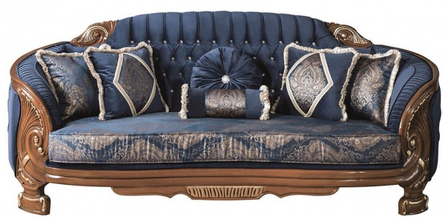 Casa Padrino Luxus Barock Wohnzimmer Sofa mit Glitzersteinen und dekorativen Kissen Blau / Braun 240 x 90 x H. 105 cm - Edel & Prunkvoll
