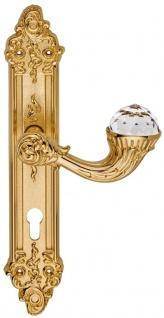 Casa Padrino Luxus Jugendstil Türgriff mit Platte und Swarovski Kristallglas Gold 15, 5 x H. 33, 5 cm - Hotel Accessoires B!