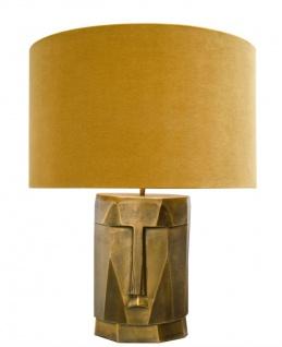 Casa Padrino Luxus Tischlampe in antik messing mit ockerfarbenen Lampenschirm 60, 5 x H. 75 cm - Hotel Restaurant Lampen