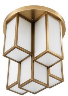 Casa Padrino Luxus Deckenleuchte Antik Messingfarben / Weiß Ø 50 x H. 53, 5 cm - Luxus Qualität - Vorschau 4