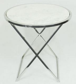 Casa Padrino Beistelltisch Silber / Weiß Ø 61 x H. 61 cm - Wohnzimmer Beistelltisch mit weißer Marmorplatte