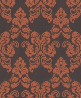 Casa Padrino Barock Textiltapete Schwarz / Terracotta 10, 05 x 0, 53 m - Deko Accessoires im Barockstil