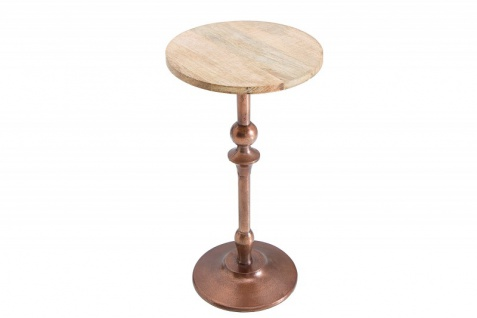 Casa Padrino Designer Beistelltisch in Kupfer / Natur Mango mit Tischplatte 30 cm x H. 52 cm - Wohnzimmermöbel