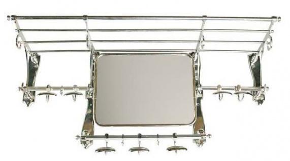 Französische Luxus Wandgarderobe mit Spiegel Silber Edelstahl Garderoben Halter Mod Paris - Garderobe Antik Stil Barock Jugendstil Hotel, Cafe Restuarant Möbel