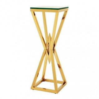 Casa Padrino Luxus Beistelltisch / Säule Edelstahl Gold Finish 35 x 35 x H 101 cm - Tisch Möbel