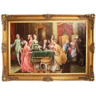 Riesiges Handgemaltes Barock Öl Gemälde Unterhaltungsabend Mod.2 Gold Prunk Rahmen 225 x 165 x 10 cm - Massives Material