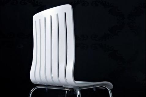 Designer Stuhl aus Holz und verchromtem Stahl, Weiß, Esszimmerstuhl, moderner Wohnzimmerstuhl - Vorschau 4