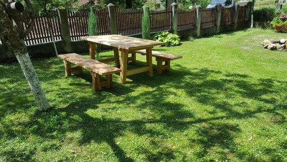 Casa Padrino Gartenmöbel Set Rustikal - Tisch + 2 Garten Bänke (Länge: 200 cm) - Eiche Massivholz - Vorschau 4