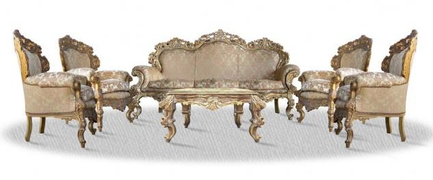 Casa Padrino Barock Sofa Set 3er Sofa 4 Sessel und Tisch mit Glasplatte - Antik Stil Wohnzimmer