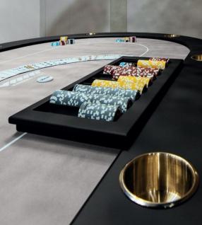 Casa Padrino Luxus Pokertisch Grau / Schwarz / Gold 219 x 150 x H. 77 cm - Ovaler Massivholz Pokertisch mit Getränkehalter - Casino Tisch - Hotel Kollektion - Luxus Qualität - Vorschau 2