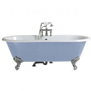 Casa Padrino Luxus Gusseisen Badewanne Hellblau / Weiß 170 cm - Gebogene freistehende Badewanne - Barock & Jugendstil Badezimmer Möbel