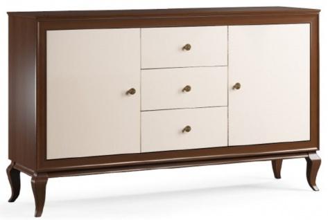 Casa Padrino Luxus Art Deco Sideboard Dunkelbraun / Cremefarben 156 x 43, 5 x H. 95, 5 cm - Massivholz Schrank mit 2 Türen und 3 Schubladen - Art Deco Wohnzimmer Möbel