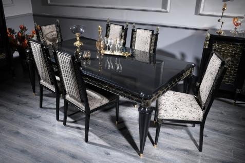 Casa Padrino Luxus Barock Esszimmer Set Silbergrau / Schwarz / Gold - 1 Esstisch und 6 Esszimmerstühle - Esszimmermöbel im Barockstil