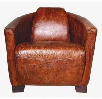 Art Deco Echtleder Sessel Ebony Leder / Ciger - Braun - Clubsessel - Lounge Sessel
