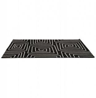 Casa Padrino Designer Teppich 160 x 230 cm Schwarz/ Weiß Design - Läufer - Vorschau 3