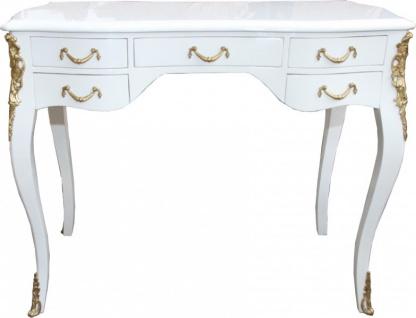 Casa Padrino Luxus Barock Schreibtisch Weiß Hochglanz / Gold 100 x 80 x 58 cm- Sekretär Luxus Möbel - Vorschau 1