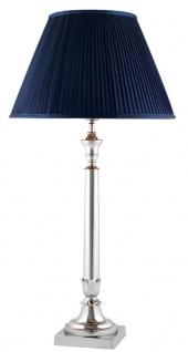 Casa Padrino Tischleuchte in silber mit blauem Lampenschirm - Limited Edition