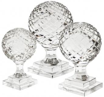 Casa Padrino Luxus Deko Glaskugeln Set - 3 Kugeln mit Sockel - Schreibtisch Deko - Wohnzimmer Deko - Luxus Kollektion