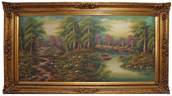 Casa Padrino Barock Ölgemälde Landschaft Mehrfarbig / Gold 285 x H. 164 cm - Riesiges handgemaltes Barock Gemälde mit massivem Prunkrahmen