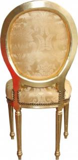 Casa Padrino Barock Esszimmer Stuhl Gold Blumenmuster / Gold Mod2 Rund - Vorschau 3