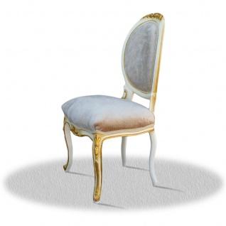 Casa Padrino Barock Salonstuhl Hochglanzweiß Gold Grau 50 x 50 x H. 100 cm - Vorschau 2