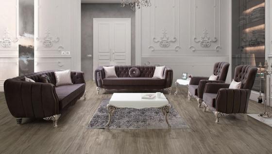 Casa Padrino Luxus Barock Wohnzimmer Set Lila / Silber - 2 Sofas & 2 Sessel & 1 Couchtisch - Elegante Wohnzimmer Möbel im Barockstil