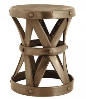Casa Padrino Designer Luxus Beistelltisch Messing Höhe 53cm, Durchmesser 44cm - Edelstahl Hocker - Nickel Finish Tisch Sitzhocker
