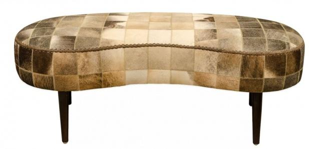 Casa Padrino Luxus Sitzbank mit Kuhfell 130 x 60 x H. 50 cm - Designermöbel - Vorschau 2