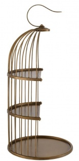 Casa Padrino Designer Etagere 3-Stufig mit Tragegriff Antik Messingfarben Ø 16, 5 x H. 35, 5 cm - Luxus Messing Etagere im Vogelkäfig Design - Vorschau 2