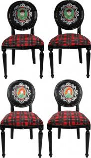 Casa Padrino Luxus Barock Esszimmer Set Schottland Mann und Frau Mehrfarbig / Schwarz 48 x 50 x H. 98 cm - 4 handgefertigte Esszimmerstühle - Barock Esszimmermöbel