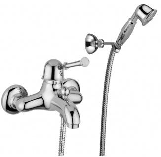 Luxus Dusch Aufputz-Einhebelmischer mit Duplex Brauseset Silber - Luxus Qualität Made in Italy