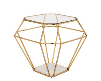 Casa Padrino Luxus Art Deco Designer Beistelltisch Gold mit weißer Marmorplatte - Luxus Beistelltisch Hotel Möbel