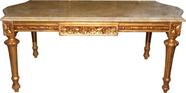 Casa Padrino Barock Couchtisch Gold mit cremefarbener Marmorplatte 108 x 55 cm - Limited Edition