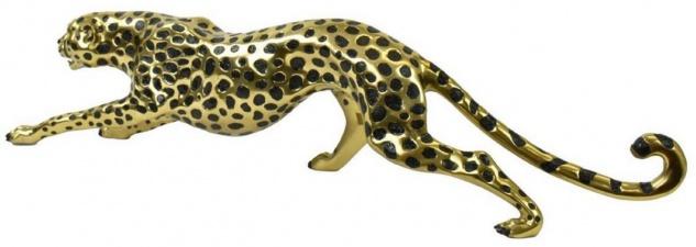 Casa Padrino Luxus Bronzefigur Gepard Gold / Schwarz 115 x 17 x H. 26 cm - Bronze Skulptur - Dekofigur - Luxus Deko Accessoires