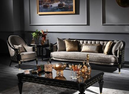 Casa Padrino Luxus Barock Wohnzimmer Set Silbergrau / Schwarz / Gold - 1 Chesterfield Sofa & 1 Sessel & 1 Couchtisch & 1 Beistelltisch - Barockmöbel