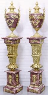 Casa Padrino Barock Vasen mit Marmor Säulen Set Rot / Gold 30 x 30 x H. 180 cm - Edel & Prunkvoll - Vorschau 3