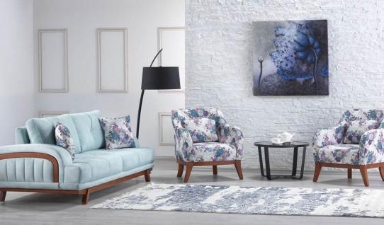Casa Padrino Designer Wohnzimmer 2er Sofa Seine Hellblau - Hotel Möbel