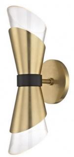 Casa Padrino Luxus LED Doppel Wandleuchte Antik Messing / Schwarz 12, 1 x 14, 6 x H. 38, 1 cm - Luxus Kollektion