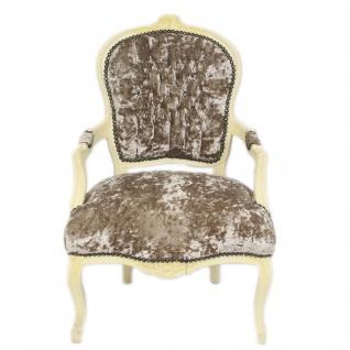Casa Padrino Barock Salon Stuhl Khaki Velour Stoff / Creme - Antik Design Möbel