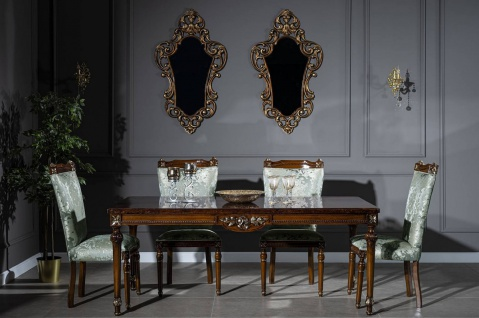 Casa Padrino Luxus Barock Esszimmer Set Mintgrün / Braun - 1 Esstisch & 6 Esszimmerstühle - Edle Esszimmer Möbel im Barockstil