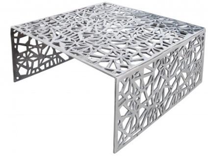 Casa Padrino Art Deco Couchtisch Silber Metall 75 x 35 cm- Jugendstil Tisch - Möbel Wohnzimmer