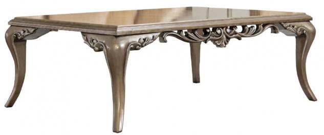 Casa Padrino Luxus Barock Couchtisch Braun / Silber - Prunkvoller Wohnzimmertisch im Barockstil - Handgefertigter Massivholz Tisch - Barock Wohnzimmer Möbel