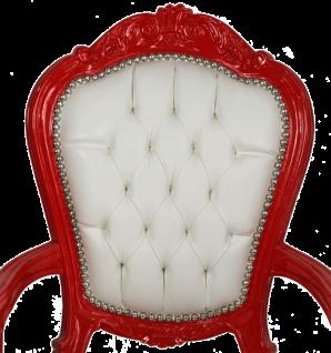 Casa Padrino Luxus Barock Esszimmer Stuhl mit Armlehnen Weiß / Rot - Handgefertigter Küchen Stuhl mit edlem Kunstleder - Barock Esszimmer Möbel - Vorschau 2