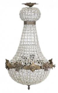 Casa Padrino Barock Kronleuchter Oxide mit Glaskristallen 75 x 40 cm Antik Stil - Möbel Lüster Leuchter Hängeleuchte Hängelampe