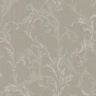 Casa Padrino Barock Textiltapete Grau / Silber 10, 05 x 0, 53 m - Hochwertige Wohnzimmer Tapete im Barockstil