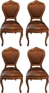 Casa Padrino Luxus Barock Esszimmer Set Braun / Braun 45 x 47 x H. 99 cm - 4 handgefertigte Massivholz Esszimmerstühle mit Echtleder - Barock Esszimmermöbel