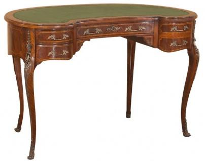 Casa Padrino Luxus Barock Schreibtisch Dunkelbraun / Hellbraun / Grün - Handgefertigter Mahagoni Schreibtisch mit 5 Schubladen - Edle Barock Büro Möbel